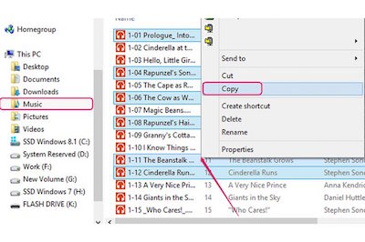 Copy the selected MP3s